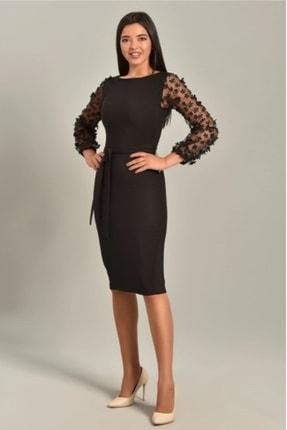 BUTİKEGECE Kadın Siyah Kolları Tül Papatya Kalem Elbise