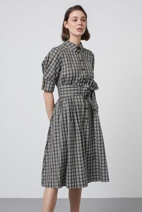 Machka Kadın Haki Rafya Fiyonk İşlemeli Ekose Elbise