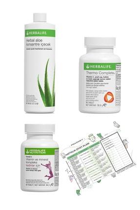 Herbalife Yağ Yakıcı Thermo Complete + Aloe Vera Içecek + Kadın Vitamini + Diyet Listesi