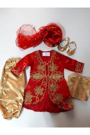 Bebek Bindallı Kız Çocuk Kırmızı Mevlüt ve Bayramlık Takımı