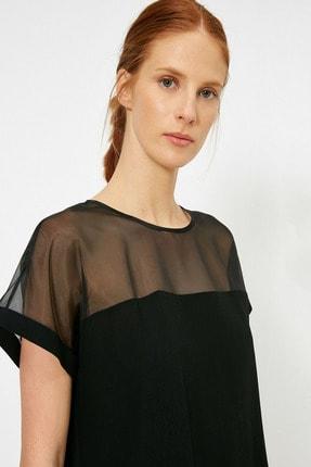 Koton Kadın Siyah Tül Detaylı Bluz