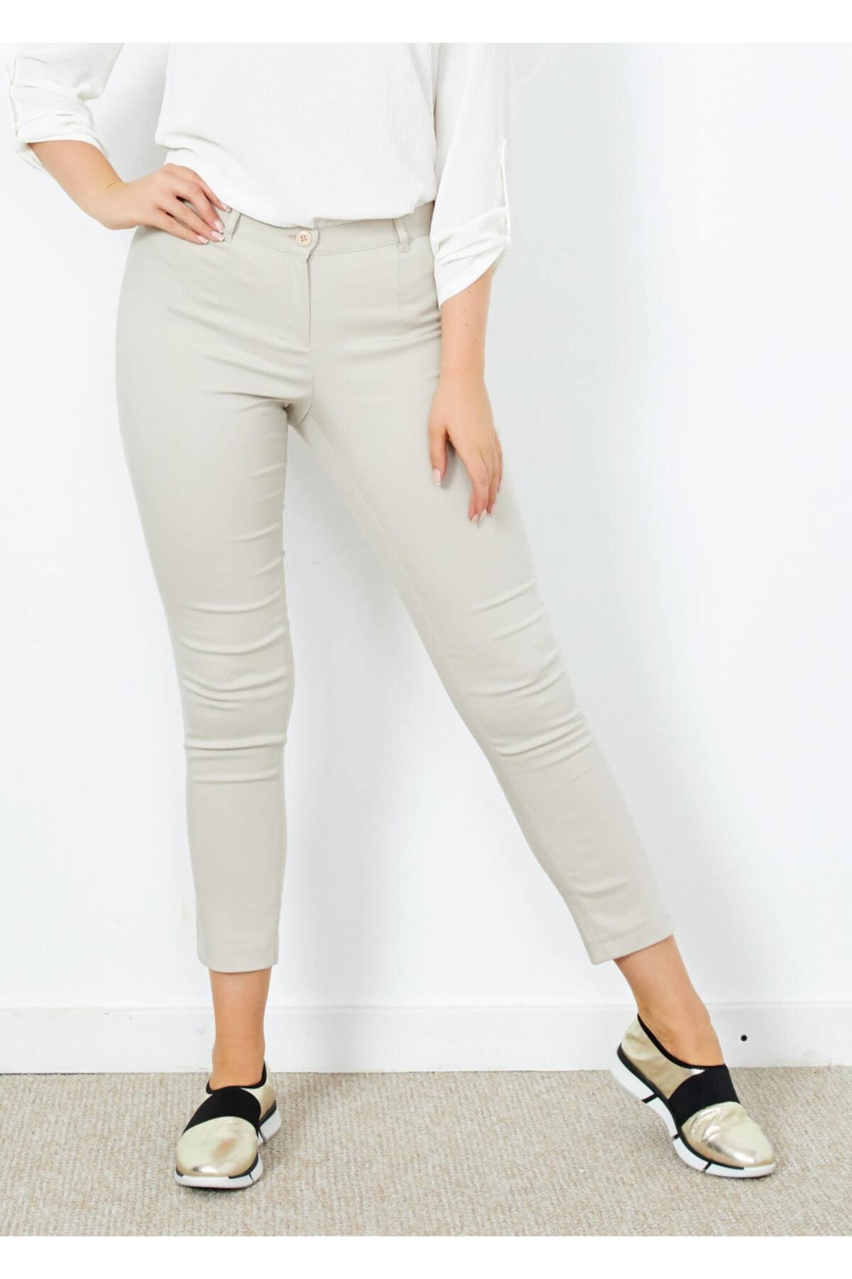 Adze Kadın Taş Klasik Kesim Dar Paça Pantalon 1