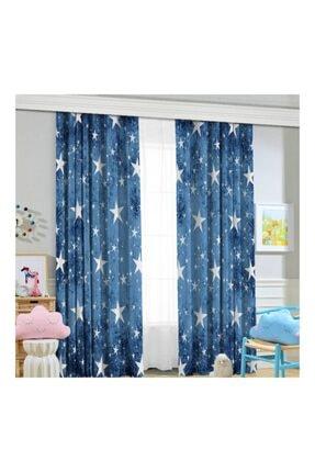 Jungle Mavi Yıldızlı Çocuk Odası Fon Perde 70x260