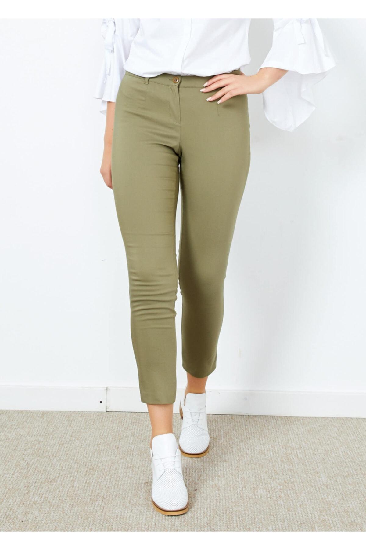 Adze Kadın Haki Klasik Kesim Dar Paça Pantalon 1