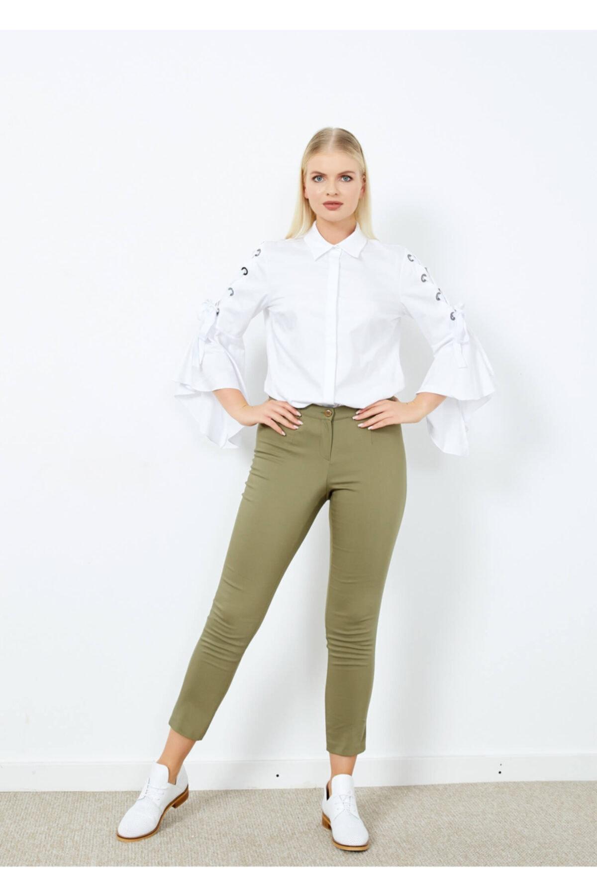 Adze Kadın Haki Klasik Kesim Dar Paça Pantalon 2