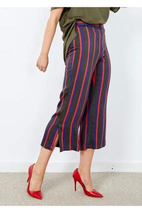 Adze Kadın Haki Çizgili Düğmeli Pantolon Karışık 44
