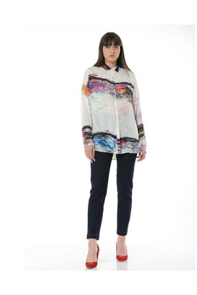 BİRELİN Kadın Ekru Dessin Gömlek