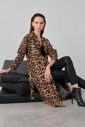 Lela Kadın Kahverengi Leopar Desenli Belden Bağlamalı Cepli Ceket