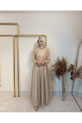 Gloomy Official Kadın Bej V Fırfırlı Abiye Elbise