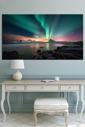 Nazenin Design Kuzey Işıkları Ve Doğa Manzara Kanvas Tablo 80x40 cm