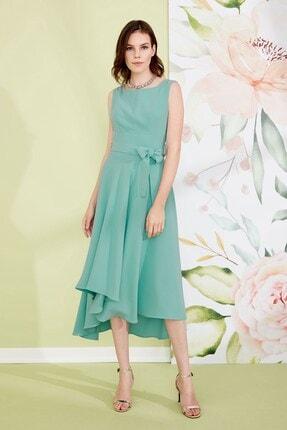 Journey Kadın Turkuaz Sıfır Yaka, Omuz Üstü Üçgen Dekolte, Etek Altı Asimetrik Detaylı Kolsuz Elbise