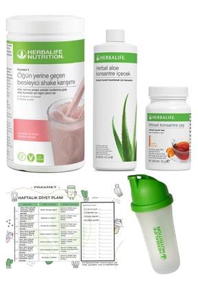 Herbalife 4'lü Set - Ahududu Shake  Şeftali Aroma Çay  Aloe Vera  Shaker Ve Diyet Listesi