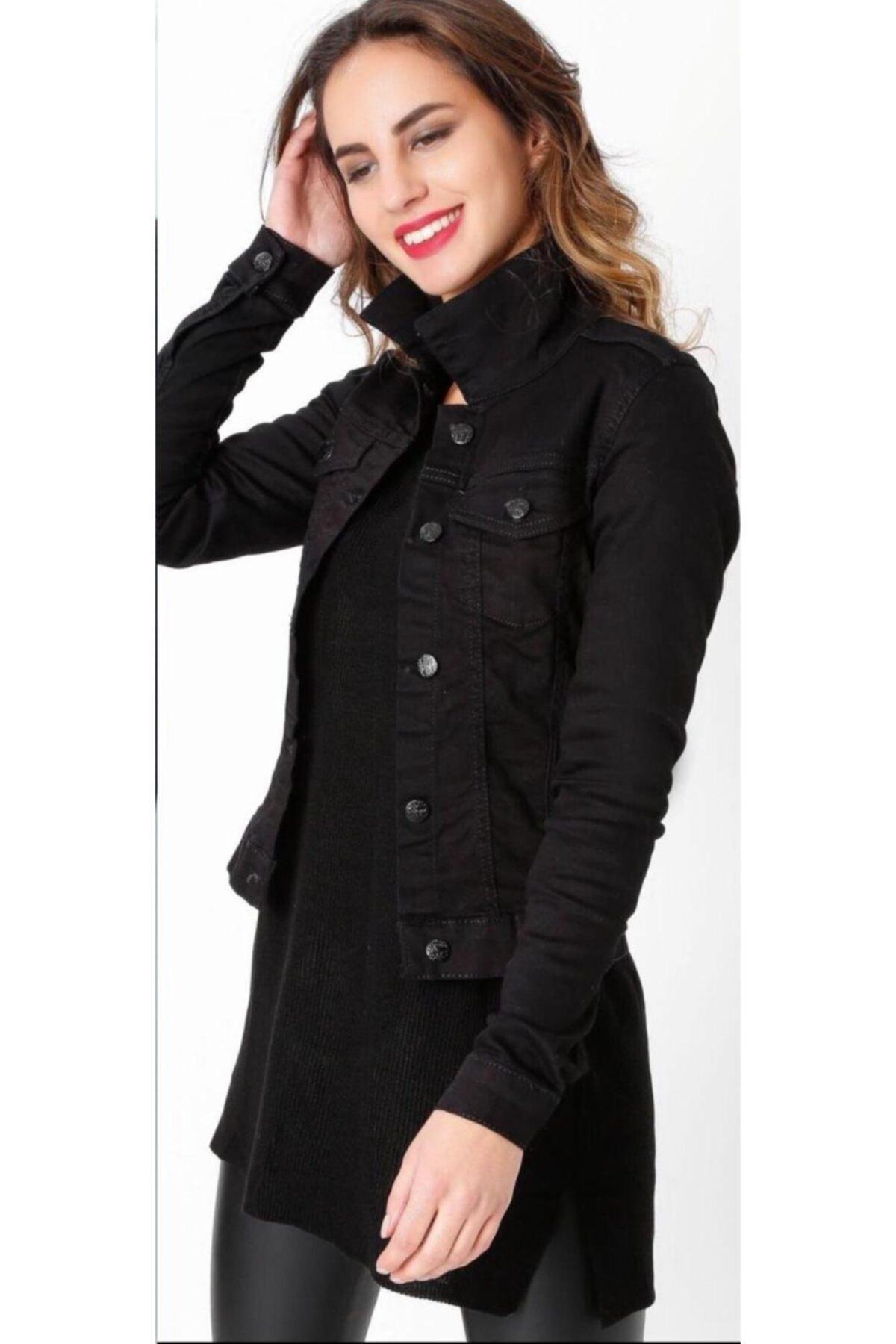 Campus Kadın Siyah Kısa Kot Ceket 1