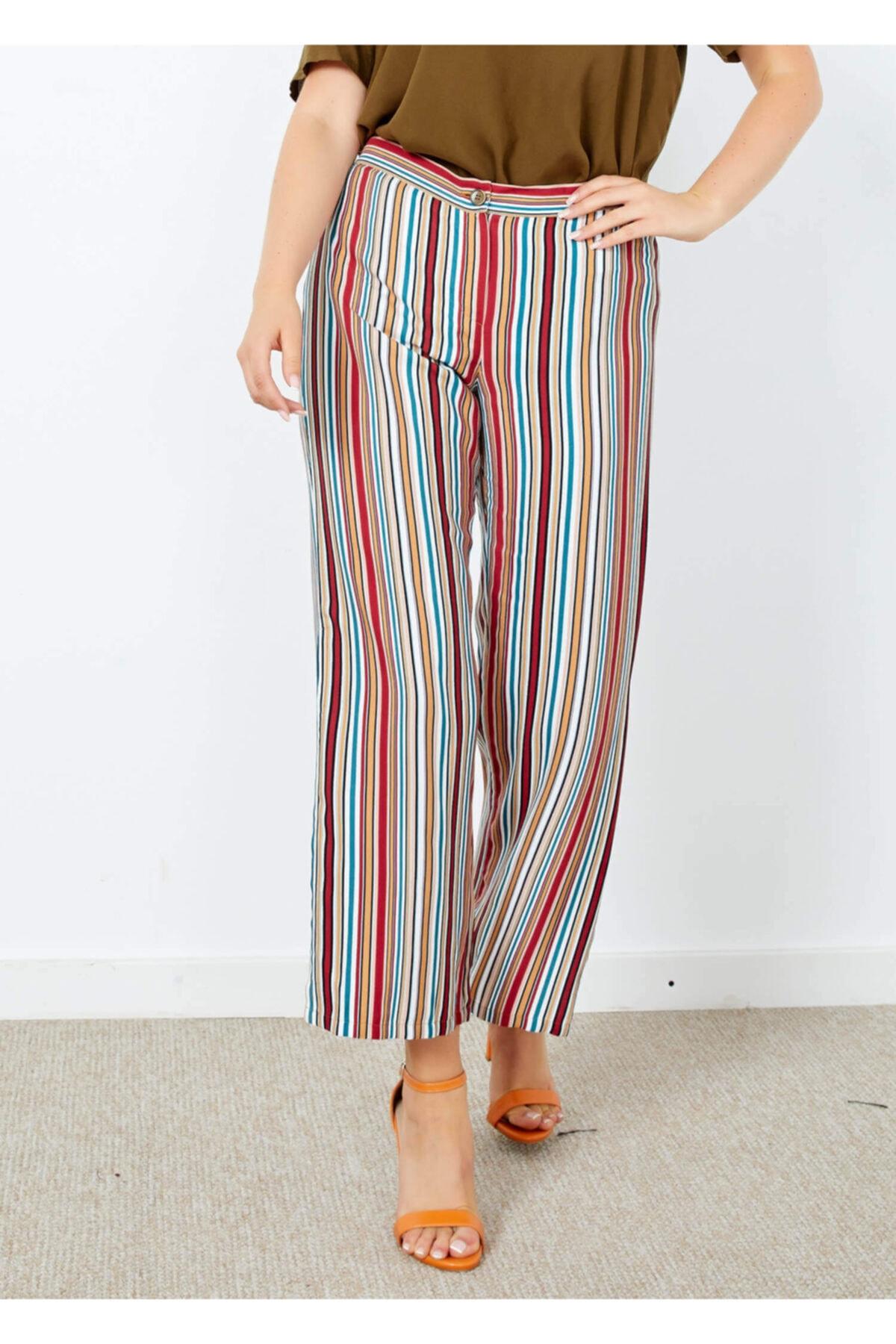 Adze Kadın Ekru Çizgili Yırtmaç Detaylı Pantolon 1