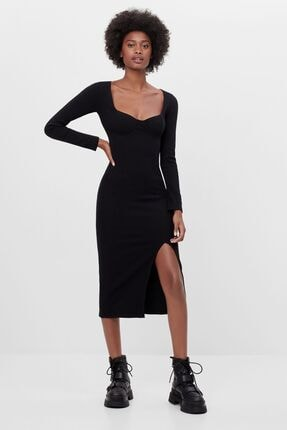 Bershka Kadın Siyah Korse Model Midi Elbise