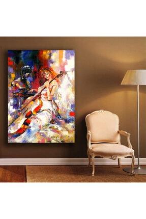 Simli Kanvas Çello Çalan Kadın Kanvas Tablo 90x60cm