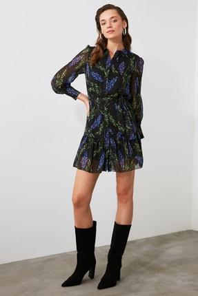 TRENDYOLMİLLA Çok Renkli Kuşaklı Desenli Elbise TWOAW21EL0867
