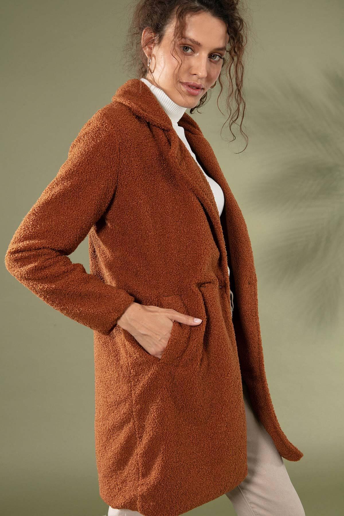 Y-London Kadın Kahve Uzun Peluş Kuzu Ceket 10418 Y19W126-10418 1