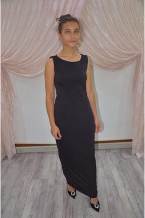 zeynep Kadın Siyah Sırt Dekolteli Kolsuz Uzun Elbise