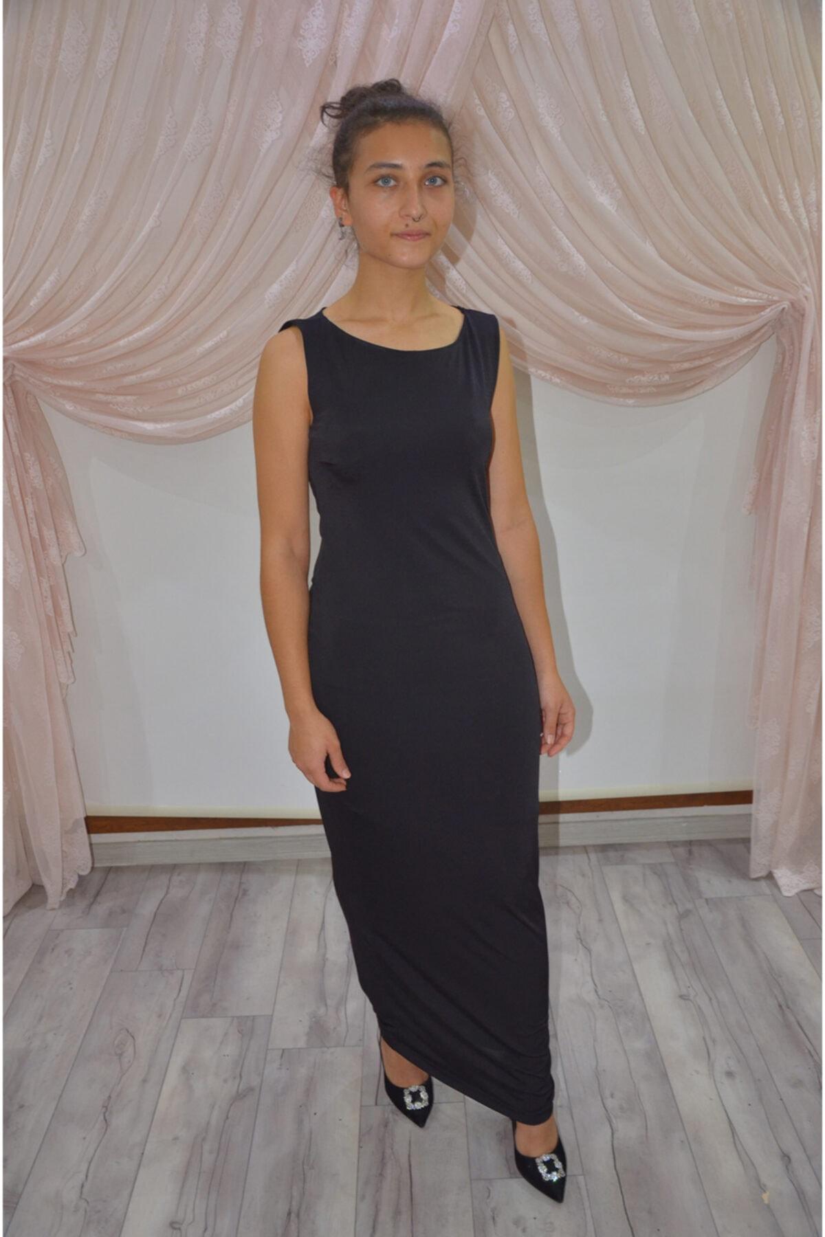 zeynep Kadın Siyah Sırt Dekolteli Kolsuz Uzun Elbise 1
