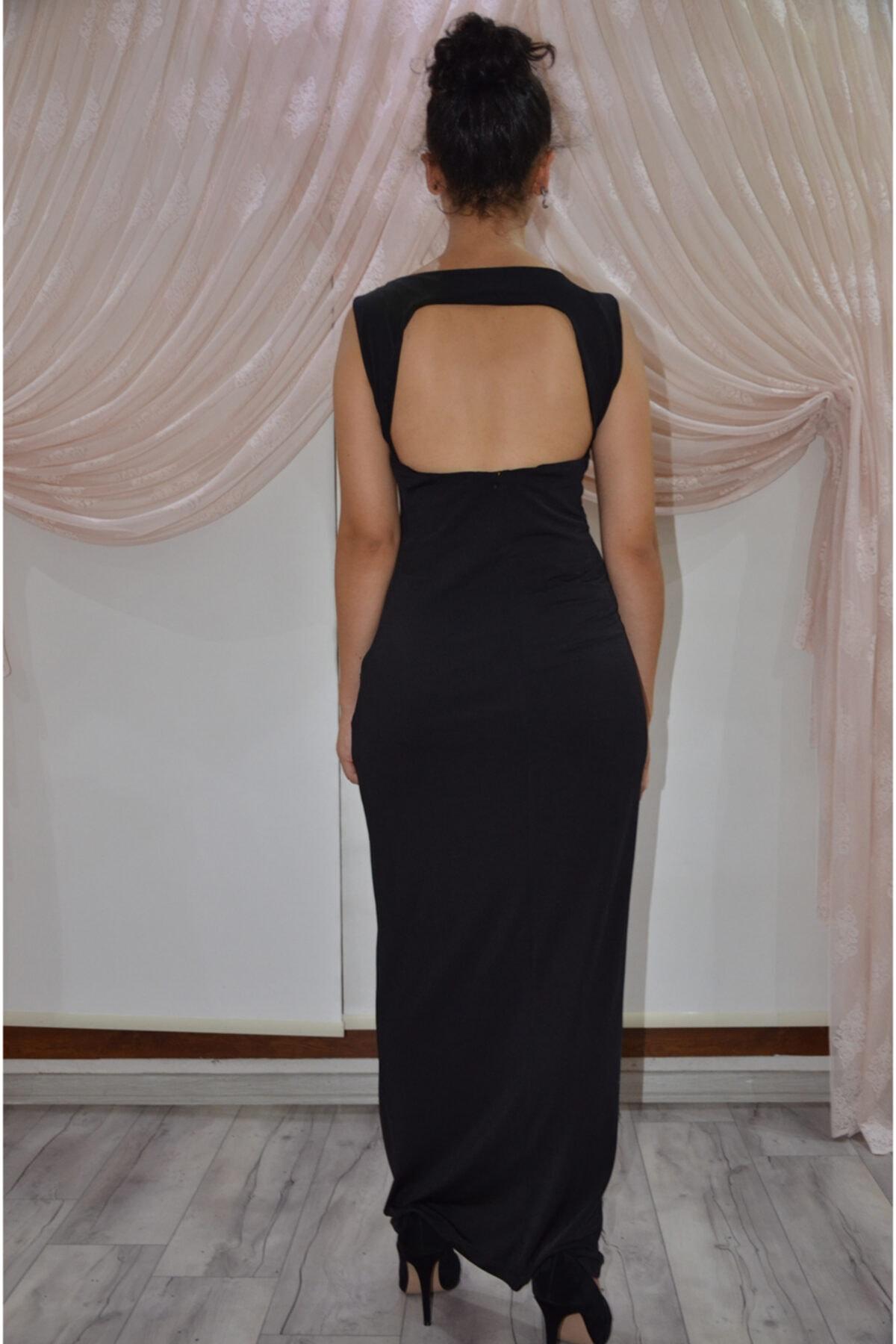 zeynep Kadın Siyah Sırt Dekolteli Kolsuz Uzun Elbise 2