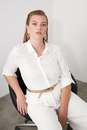 TRENDYOLMİLLA Beyaz Çizgili Gömlek TWOSS20GO0204