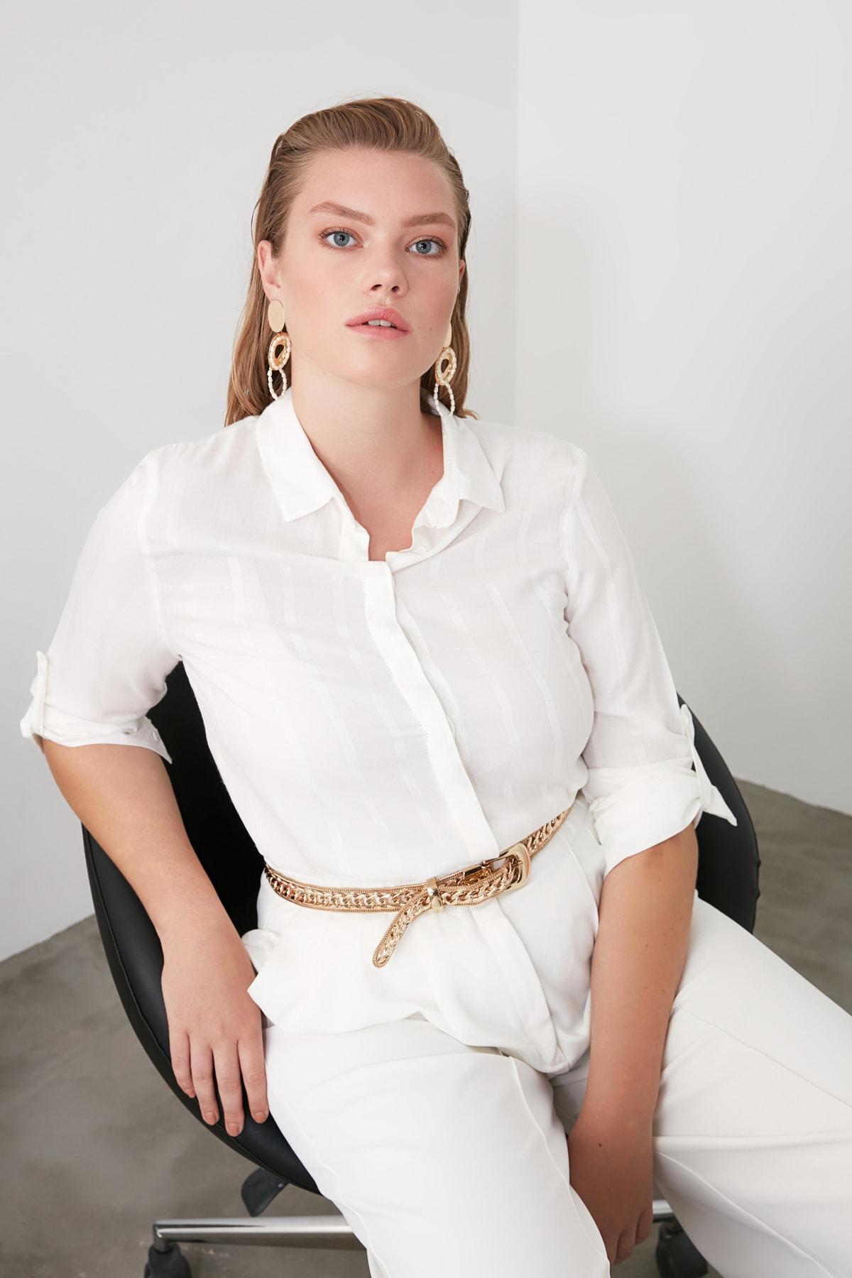 TRENDYOLMİLLA Beyaz Çizgili Gömlek TWOSS20GO0204 1