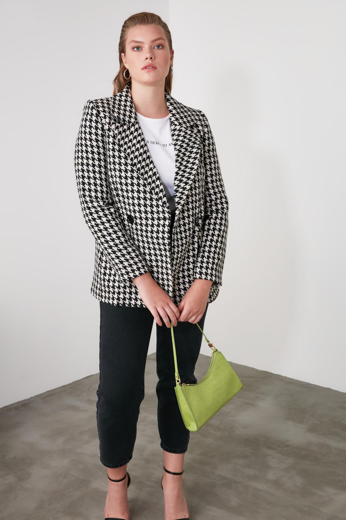 TRENDYOLMİLLA Siyah Kazayağı Blazer Ceket TWOAW20CE0201 2