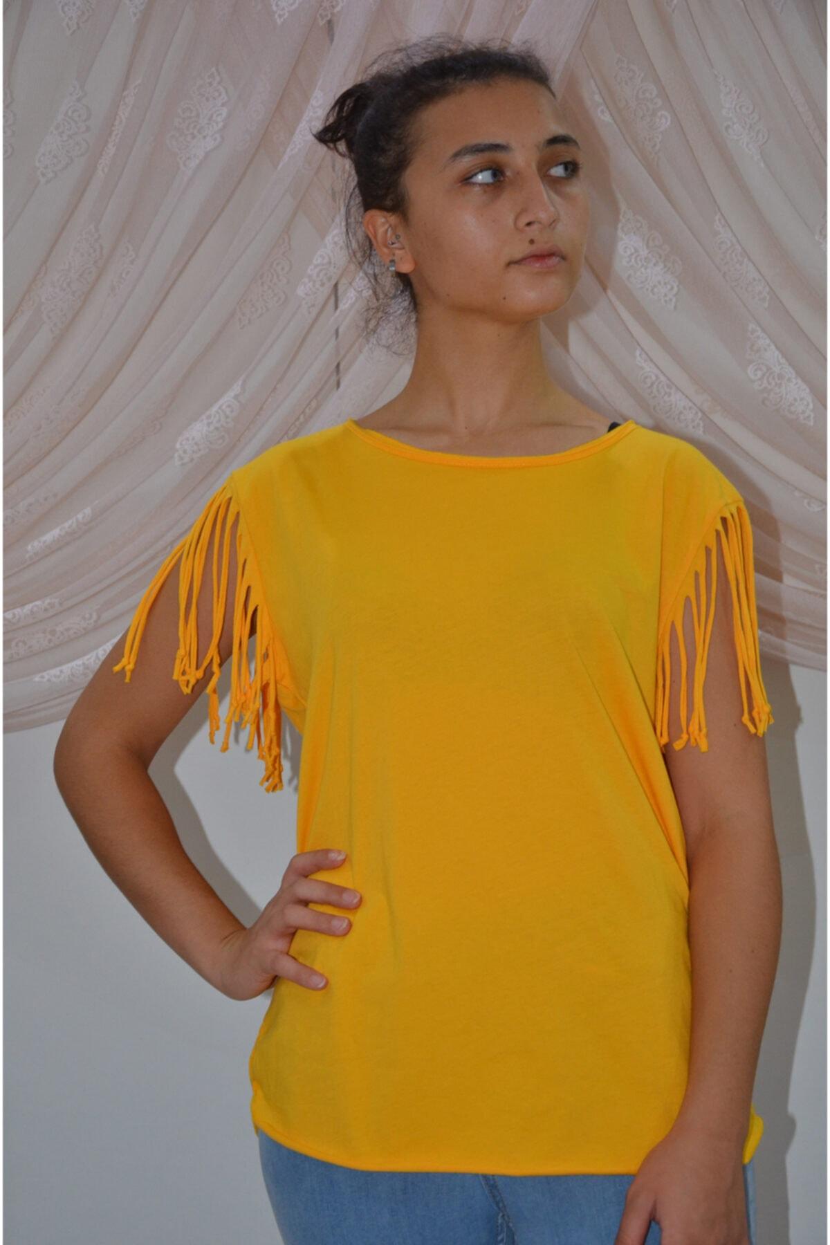 zeynep Kadın Sarı Kolları Püsküllü T-shirt 1