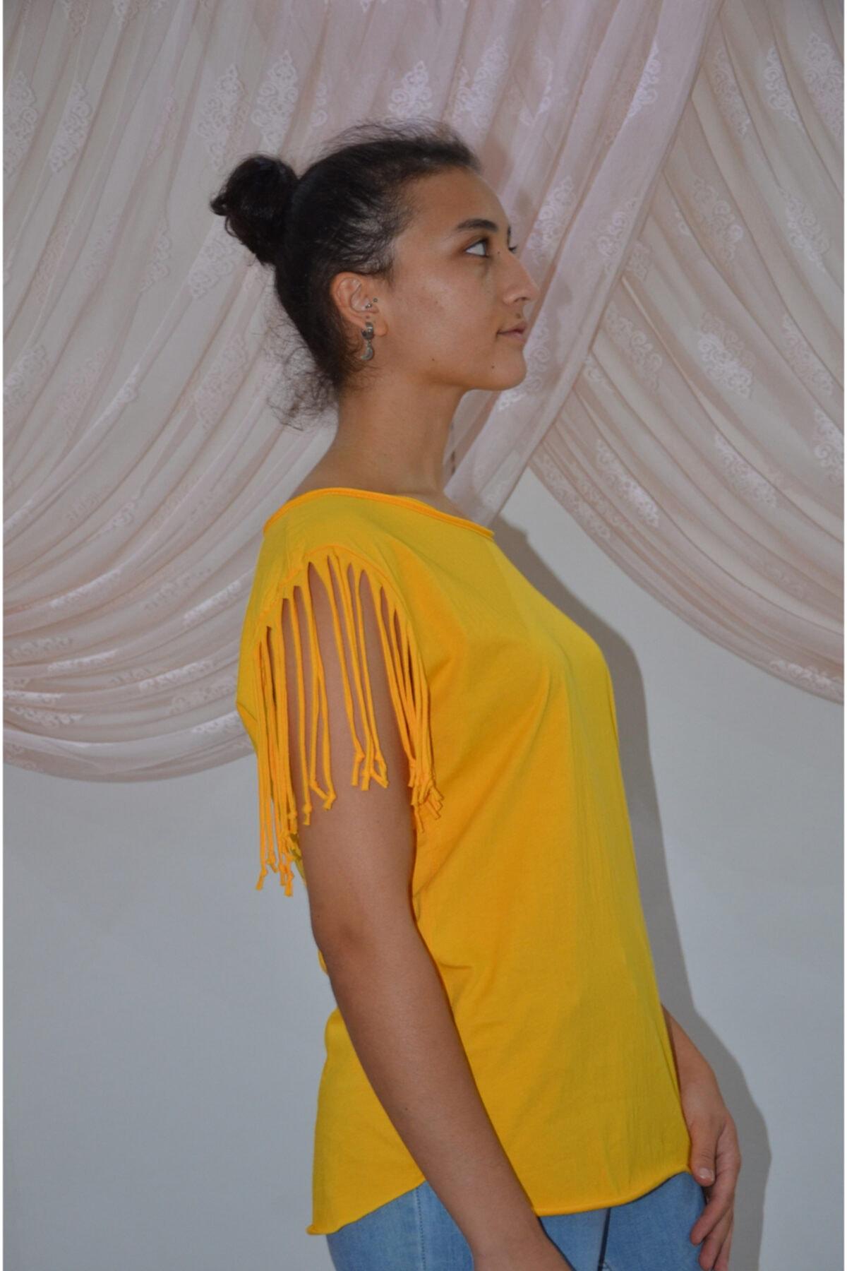 zeynep Kadın Sarı Kolları Püsküllü T-shirt 2