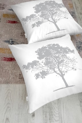 Realhomes Dekoratif Beyaz Zemimde Gri Ağaç Desenli Yer Minderi
