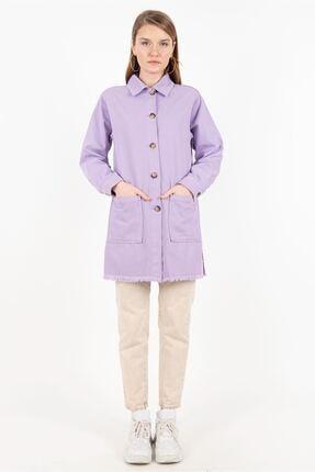 Magazin Kadın Lila Düğmeli Denim Ceket