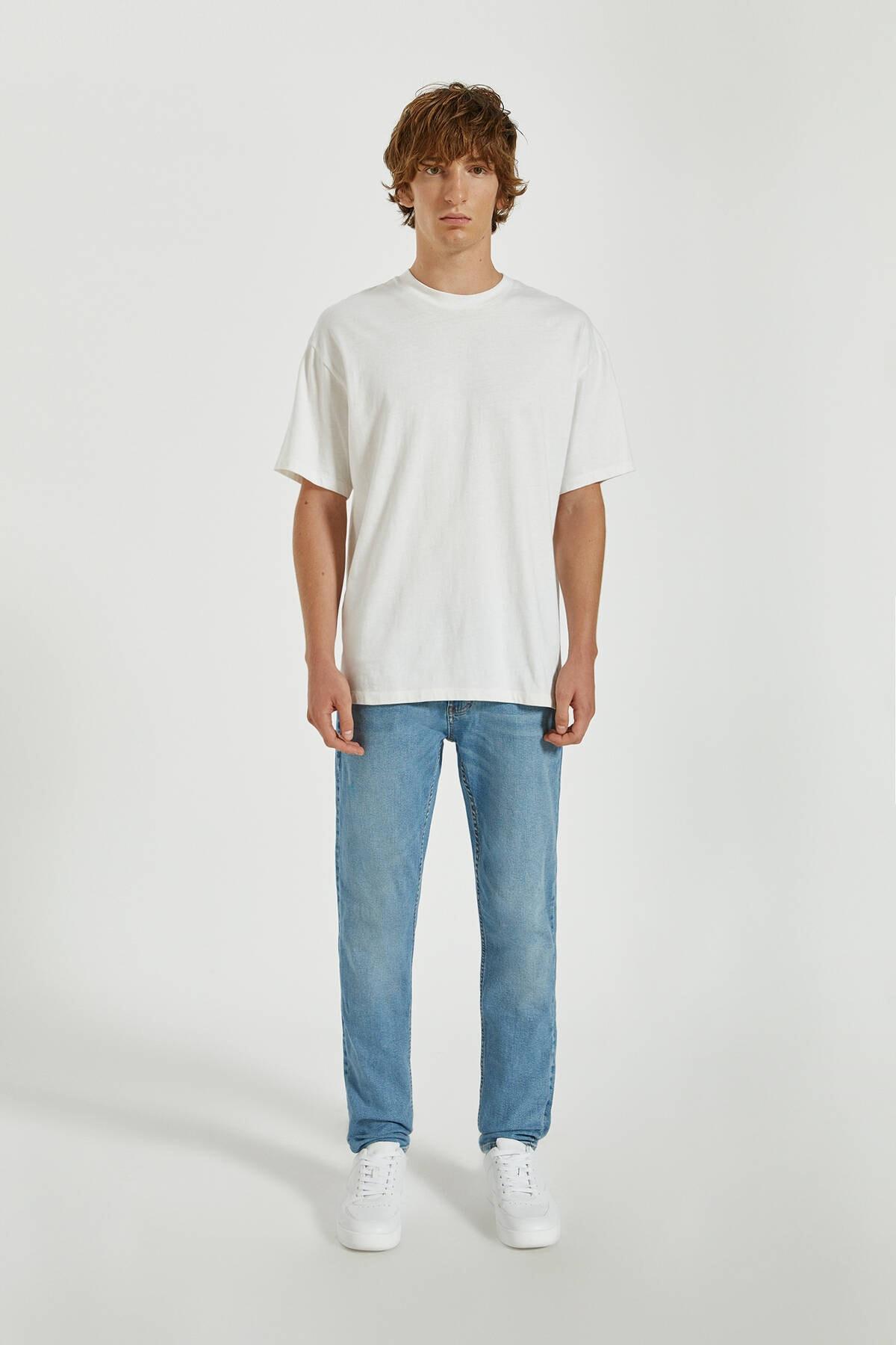 Pull & Bear Erkek Mavi Basic Slim Fit Jean 09683503