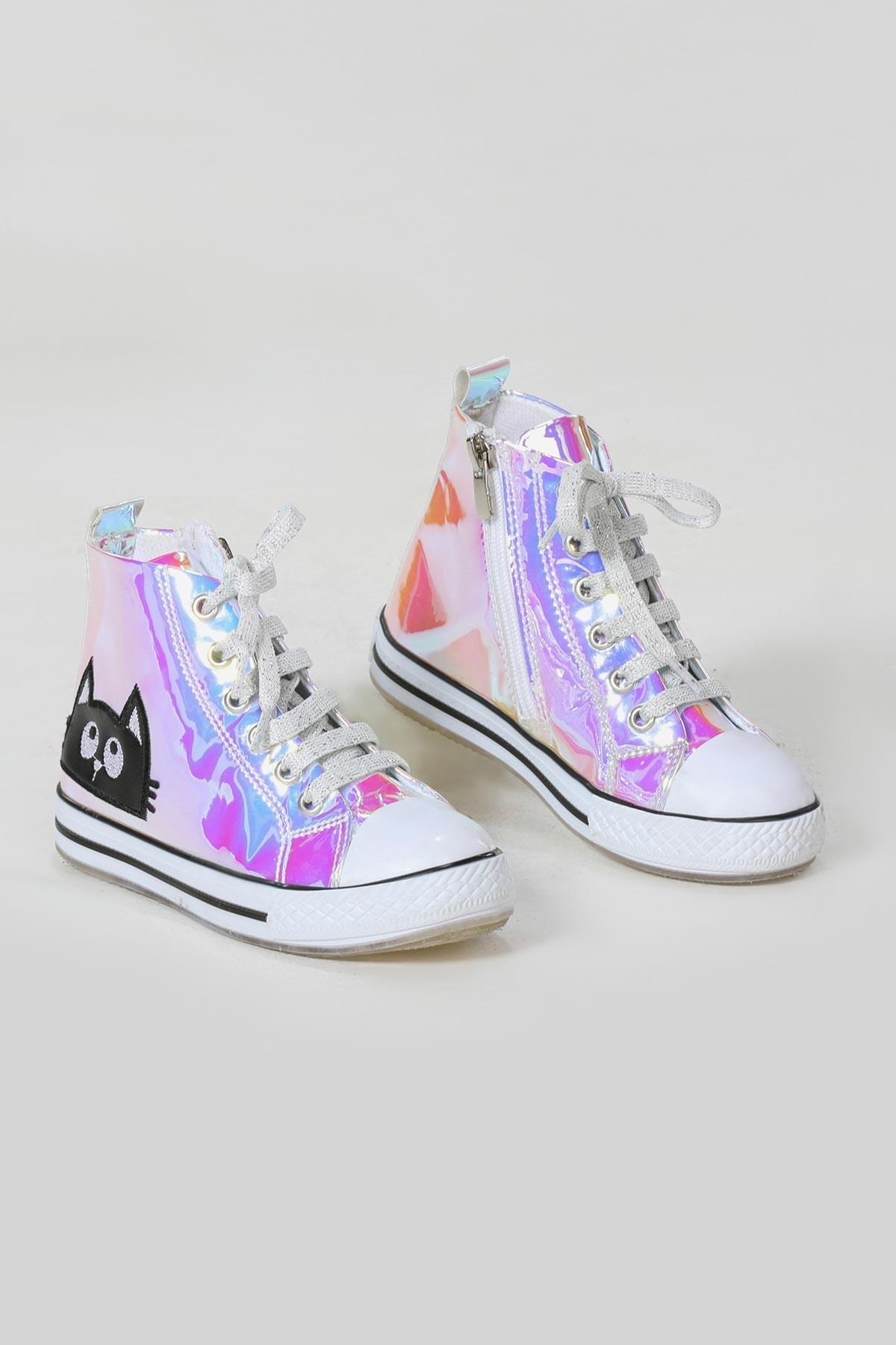 ZENOKIDO Kedi Pembe Hologramlı Kız Sneakers Ayakkabı 2