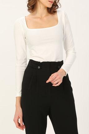 RANDOM Kadın Beyaz Geniş Yakalı Bluz