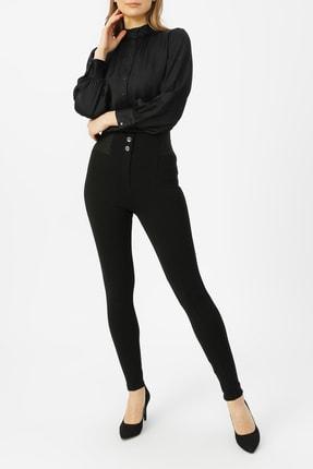 RANDOM Kadın Siyah Beli Lastikli Düğme Detaylı Pantolon