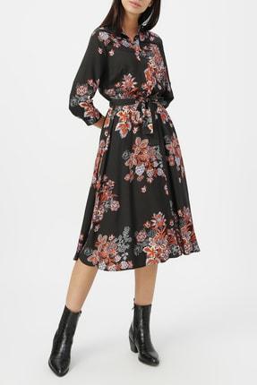 RANDOM Kadın Siyah Truvakar Kol Desenli Gömlek Elbise