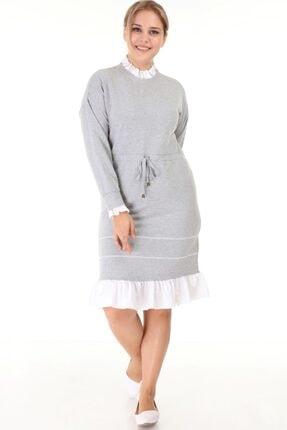 Lir Kadın Gri Büyük Beden Eteği Fırfır Uzun Kollu Elbise L1632
