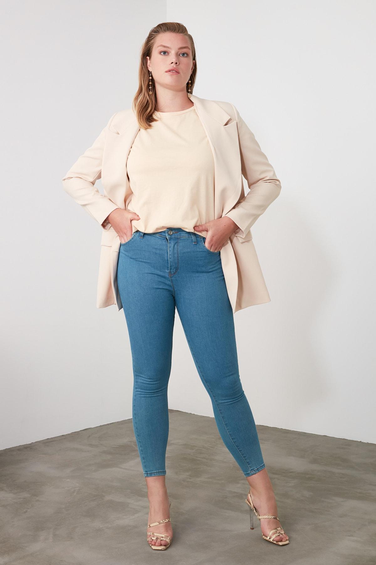TRENDYOLMİLLA Indigo Yüksek Bel Skinny Jeans TWOSS20JE0301 1