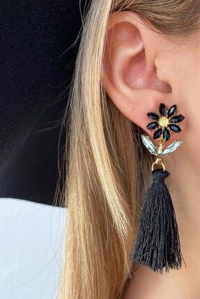 TAKIŞTIR Siyah Renk Çiçek Figürlü Püsküllü Küpe