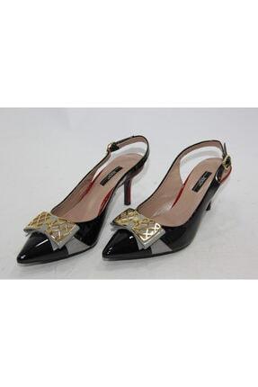 İnci Kadın Siyah Hakiki Deri Klasik Topuk Ayakkabı