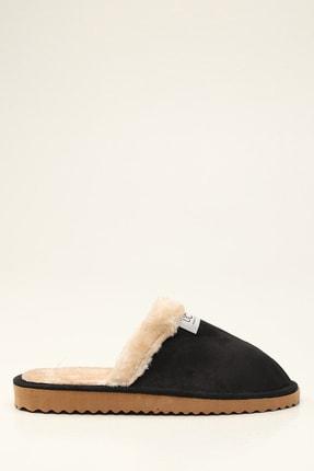 Violetta Shoes Erkek Siyah Kürklü Süet Ev Terliği