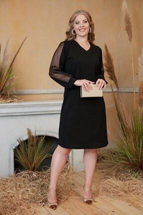 RMG Kadın Siyah Kolları Tül Ve Pul Payet Detaylı Büyük Beden Abiye Elbise