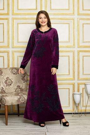 Laila Kadın Mor Fermuarlı Flok Baskılı Kadife Elbise