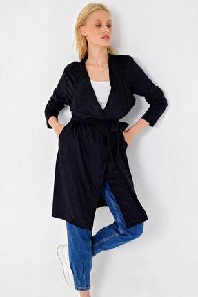Trend Alaçatı Stili Kadın Siyah Cepli Apoletli Süet Trençkot MDS-254-KBN