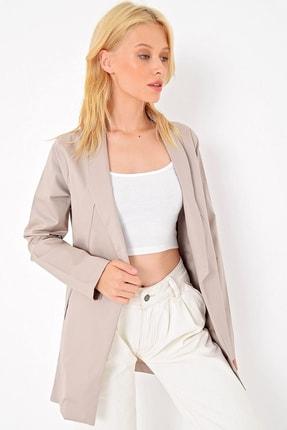 Trend Alaçatı Stili Kadın Bej Gabardın Dokuma Ceket MDS-275-CKT
