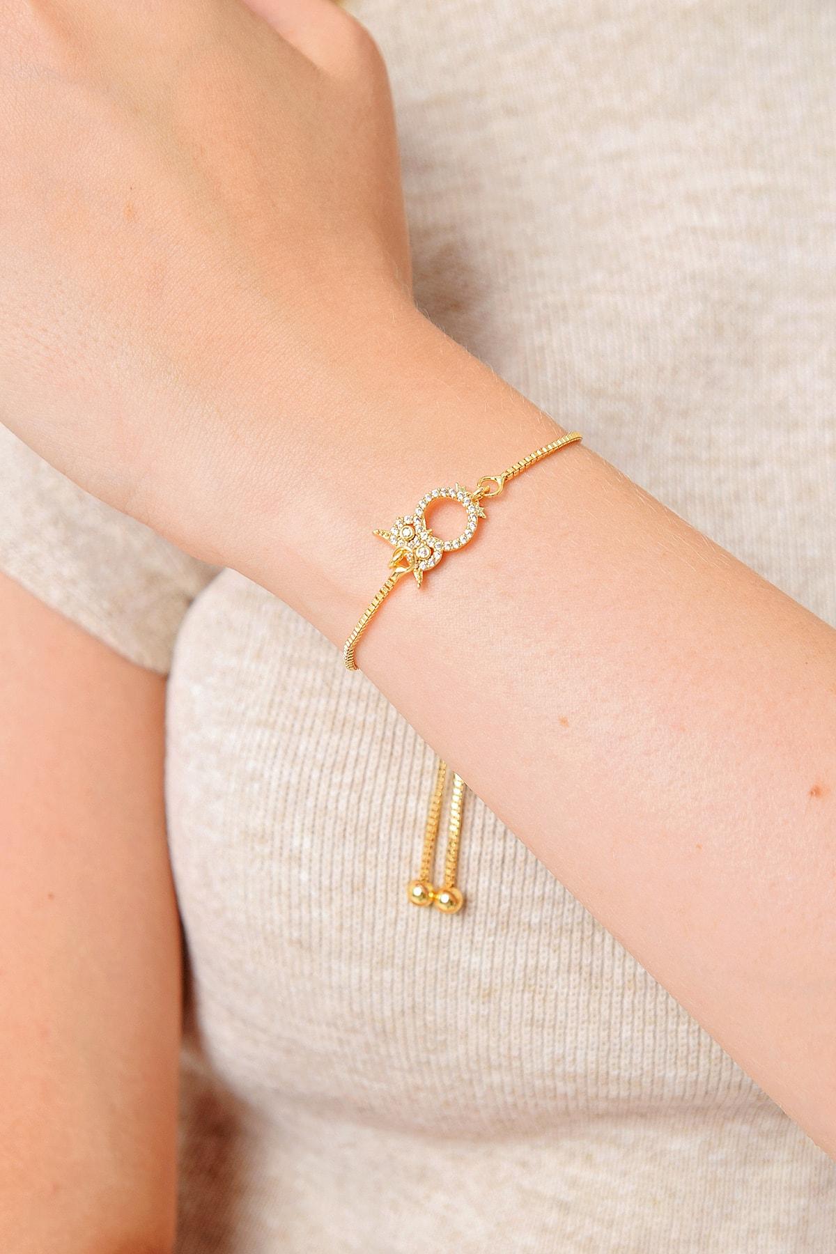 Trend Alaçatı Stili Kadın Gold Baykuş Taşlı Asansörlü Bileklik ALC-A2017 1