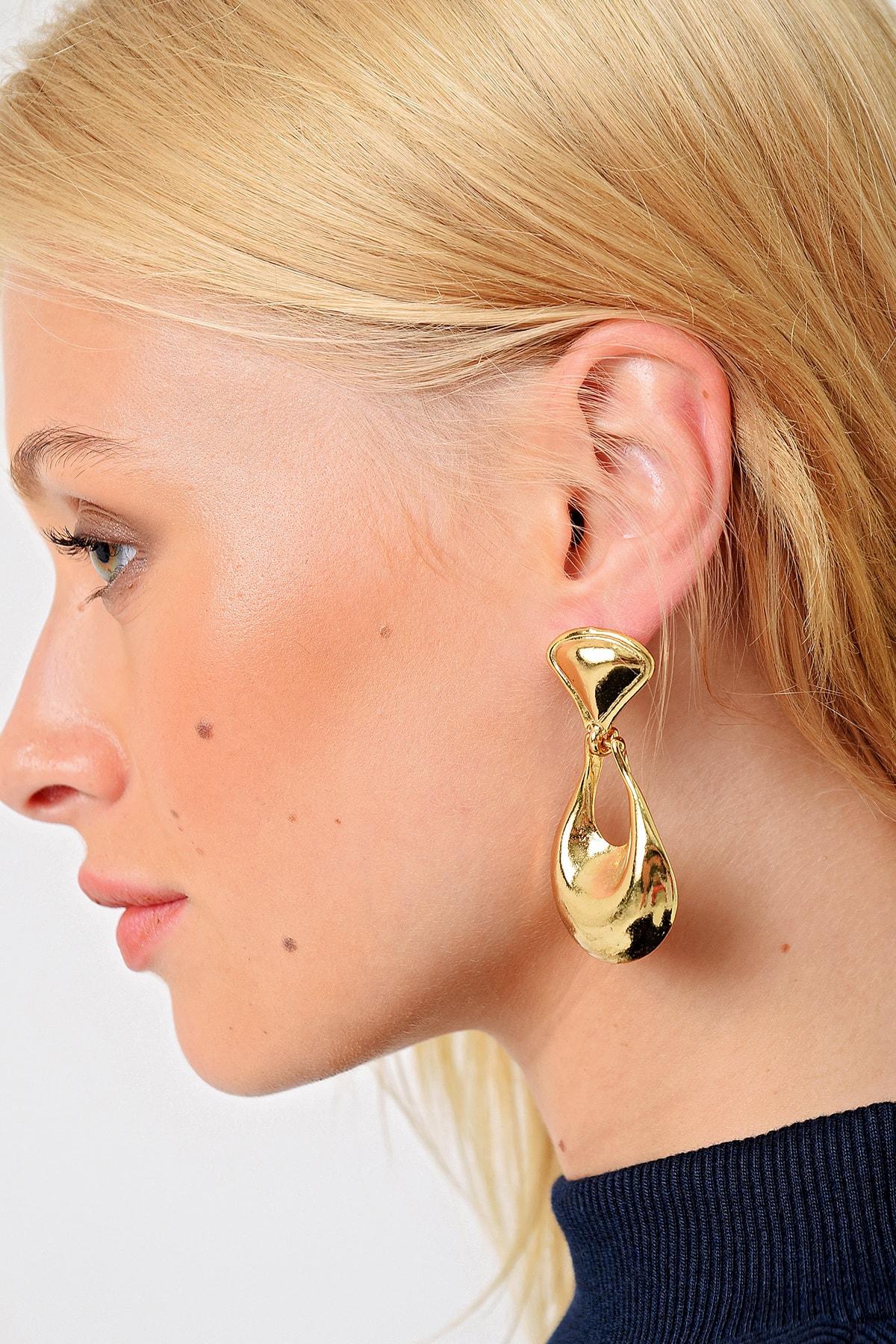 Trend Alaçatı Stili Kadın Gold Damla Küpe ALC-A2022 1