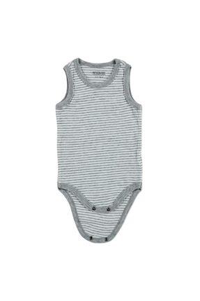HelloBaby Bebek Çizgili Ribana Atlet Çıtçıtlı Yaka Tek Body