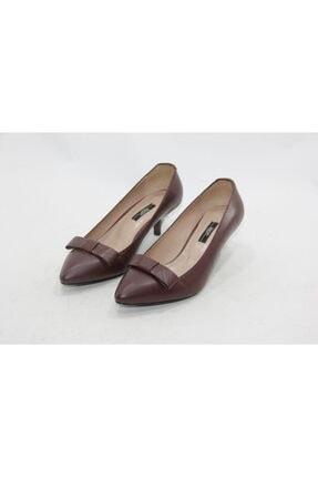 İnci Kadın  Kahverengi  Deri Topuklu Ayakkabı